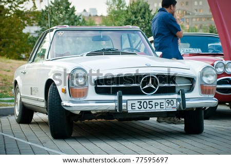 MOSCOW - JULY 31:Mercedes-Benz Claccic on exhibition parking at an annual event the VI race of vintage cars 'Night Moscow Classic Rally' on  July 31, 2010 in Moscow, Russia - stock photo