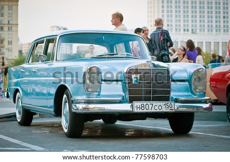 MOSCOW - JULY 31:Mercedes-Benz Classic on exhibition parking at an annual event the VI race of vintage cars 'Night Moscow Classic Rally' on July 31, 2010 in Moscow, Russia - stock photo