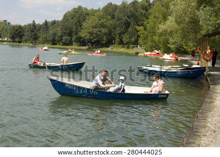MOSCOW -July 01, 2014: people rest in park Izmaylovsky, the biggest park of Europe. - stock photo