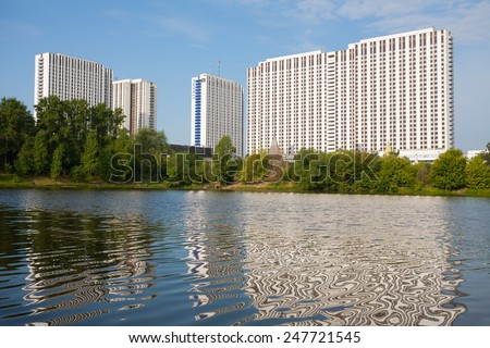 "MOSCOW - JULY 24: Tourist hotel complex ""Izmailovo"" on July 24, 2014 in Moscow. - stock photo"