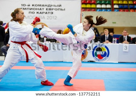 MOSCOW - JUN 9: Fight between female participants of 10th Team Championship of Europe on karate at OC Luzhniki, Small sports arena, June 9, 2012, Moscow, Russia. - stock photo