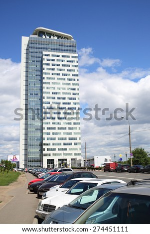 MOSCOW - JUN 19, 2014: Modern high-rise building business center Profiko in Moscow - stock photo
