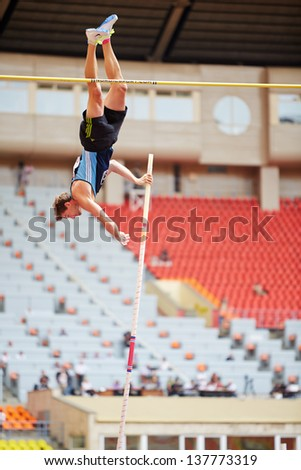 MOSCOW - JUN 11: Pole vaulter at Grand Sports Arena of Luzhniki OC during International athletics competitions IAAF World Challenge Moscow Challenge, June 11, 2012, Moscow, Russia. - stock photo