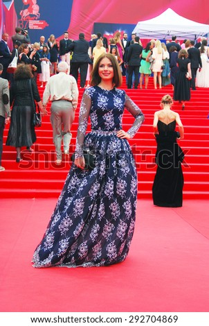 MOSCOW - JUNE 19, 2015: Actress Irina Lachina at XXXVII Moscow International Film Festival red carpet opening ceremony. - stock photo
