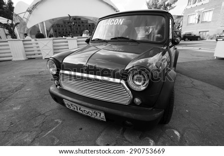 "MOSCOW - JUNE 14, 2015: Art-pad ""Flacon"". Mini Austin Cooper S - stock photo"