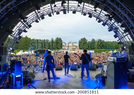 """MOSCOW - JUNE 14: Balkan Beat Box group performs at XI International Jazz Festival """"Usadba Jazz"""" in Archangelskoye Museum-Mansion on June 14, 2014 in Moscow - stock photo"""