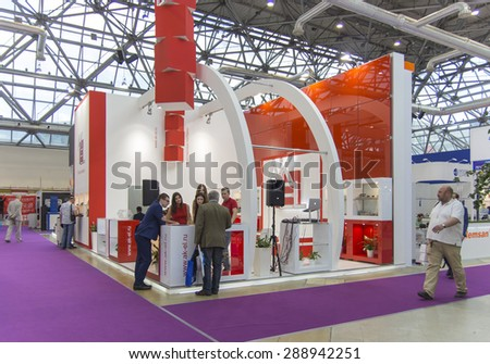MOSCOW-JUNE 10, 2015: Booth electrical products of the German-Russian company Aktuelle Elektrotechnik at the International Trade Fair ELEKTRO - stock photo