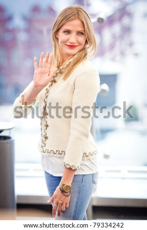MOSCOW - JUNE 15: Cameron Diaz attends the photo call 'Bad Teacher' during the premiere of this film on June 15, 2011 in Ritz Carlton Hotel, Moscow, Russia - stock photo