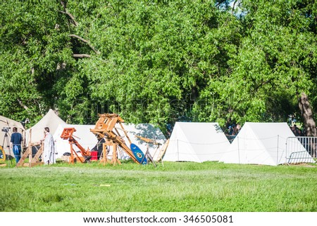 MOSCOW - JUNE 06, 2015: Camp of Celts in historical reenactment of Boudica's rebellion of the first century AD. Times and Ages International Historical Festival in Kolomenskoye, Moscow.