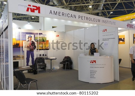 MOSCOW-JUNE 22:Exposition of the American Institute engaged in research for oil and gas industry in the 11th MOSCOW INTERNATIONAL OIL & GAS EXHIBITION  on June 22, 2011 in Moscow