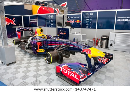 MOSCOW - JUNE 23: Formula 1 Red Bull Infiniti racing car show before the race at World Series by Renault in Moscow Raceway on June 23, 2013 in Moscow - stock photo