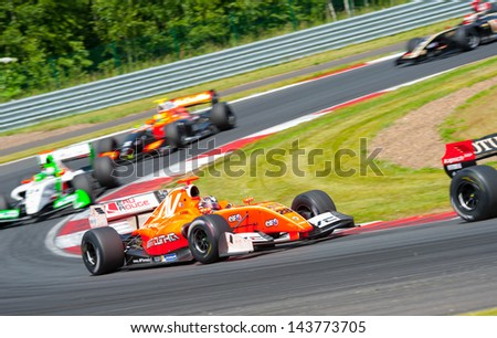 MOSCOW - JUNE 23: Formula renault 3.5 cars race at World Series by Renault in Moscow Raceway on June 23, 2013 in Moscow - stock photo
