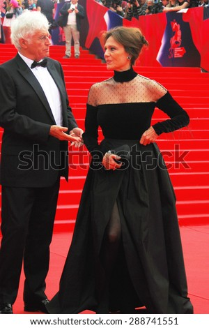 MOSCOW - JUNE 19, 2015: Jacqueline Bisset and Jean-Jacques Annaud at XXXVII Moscow International Film Festival red carpet opening ceremony. - stock photo