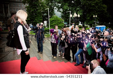 """MOSCOW - JUNE 1:  Lera Kudryavceva. Premiere of  """"Sex and the City 2"""",  June 1, 2010 in the Phushkinsky cinema, Moscow, Russia - stock photo"""
