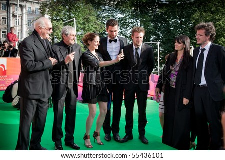 MOSCOW - JUNE 17:Nikita Mikhalkov, Claude Lelouch and actors.Opening Ceremony Of 32st Moscow International Film Festival at Pushkinsky Cinema.June 17,2010 in Moscow,Russia.