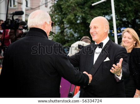 MOSCOW - JUNE,17: Nikita Mikhalkov meet ing guests of the festival. Opening Ceremony Of 32st Moscow International Film Festival at Pushkinsky Cinema . June 17, 2010 in Moscow, Russia.