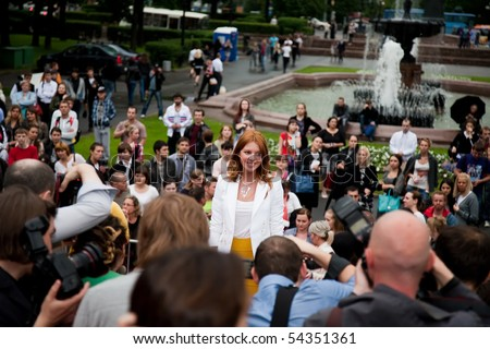 """MOSCOW - JUNE 1: Russian singer Natalya Podolskaya. Premiere of  """"Sex and the City 2"""",  June 1, 2010 in the Phushkinsky cinema, Moscow, Russia - stock photo"""
