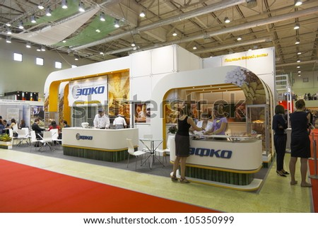 MOSCOW-JUNE 15:The stand of the Russian food ingredients company EFKO at the international exhibition MODERN BAKERY 2012 on June 15, 2012 in Moscow - stock photo