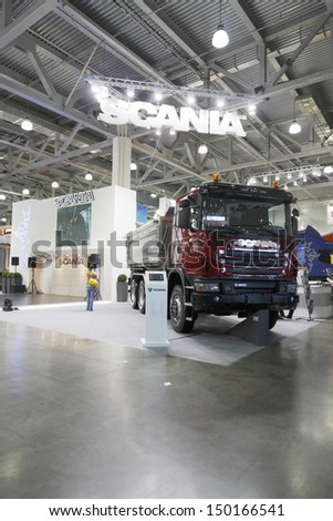 MOSCOW,JUNE 5: Truck Swedish company SCANIA at the International Exhibition Construction Equipment and Technologies JUNE 5, 2013 in Moscow