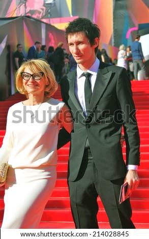 MOSCOW - JUNE 20, 2013: Tv presenter Evelina Khromchenko at XXXV Moscow International Film Festival red carpet opening ceremony.  - stock photo