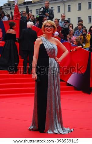 MOSCOW - JUNE 19, 2015: TV presenter Evelina Khromchenko at XXXVII Moscow International Film Festival red carpet opening ceremony. - stock photo