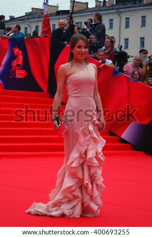 MOSCOW - JUNE 19, 2015: TV presenter Julia Baranovskaya at XXXVII Moscow International Film Festival red carpet opening ceremony. - stock photo
