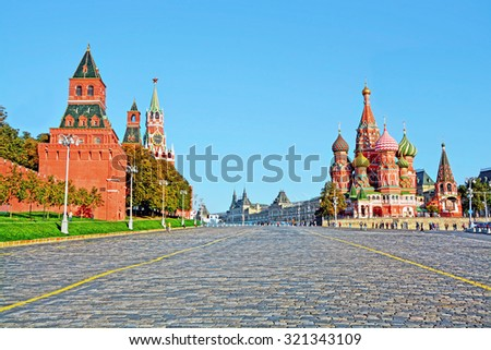 Moscow Kremlin and at St Basil Cathedral on Red Square in Moscow, Russia - stock photo