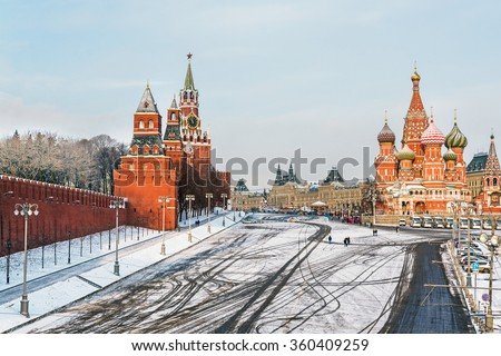 Moscow Kremlin and Cathedral of St. Basil at the Red Square in winter in Moscow, Russia - stock photo