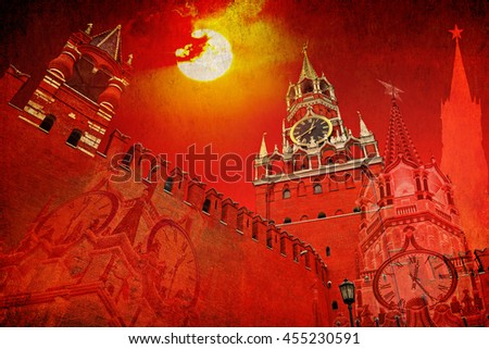 Moscow Kremlin at fiery red sunset sky. Spasskaya Tower and  brick wall on Red Square. Russia. Fantasy. Abstract. Old paper texture background - stock photo