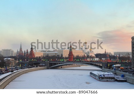 Moscow Kremlin at sunrise, winter - stock photo