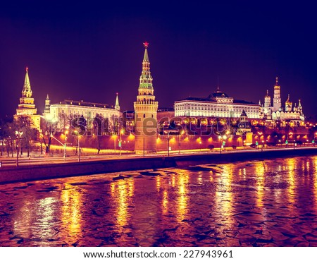Moscow Kremlin in fires by cold winter night. Russia - stock photo