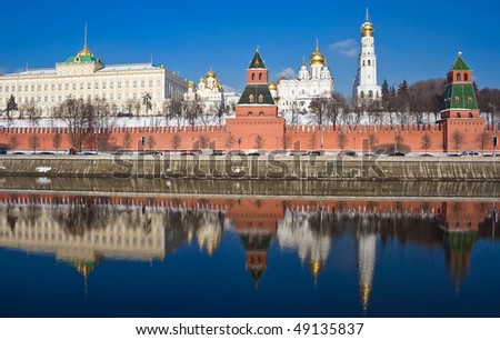 Moscow Kremlin in winter, Russia - stock photo