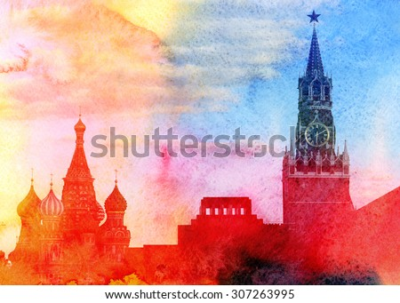 Moscow Kremlin, Lenin mausoleum and St Basils Cathedral photographed close up - stock photo