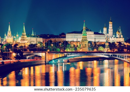 Moscow Kremlin night view from the waterfront - stock photo