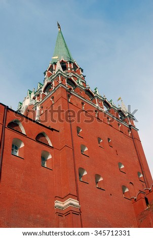Moscow Kremlin. Old tower. Blue sky background. UNESCO World Heritage Site. - stock photo
