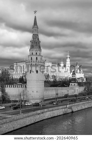 Moscow Kremlin, Russia (black and white) - stock photo