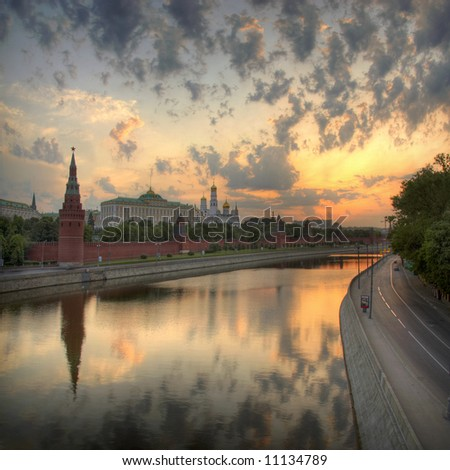 Moscow Kremlin sunrise - stock photo