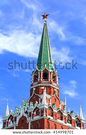 Moscow Kremlin tower built in the Byzantine style in the seventeenth century - stock photo