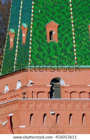 Moscow Kremlin tower, UNESCO World Heritage Site. - stock photo