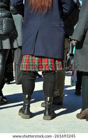 MOSCOW - MAR 14: Detail of original Scottish kilts and CAMELOT boots during St Patrick's day party in Moscow on March 14. 2015 in Russia - stock photo