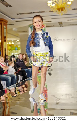 Moscow mar 17 girl model performs stock photo 138143321 shutterstock moscow mar 17 girl model performs teen sporty style at podium of children gallery voltagebd Gallery