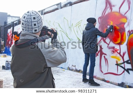 "MOSCOW - MAR 17: Participants compete during the ""Graffiti Jam"" festival held on March 17, 2012 in Moscow."