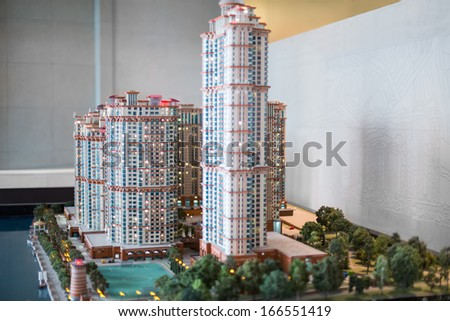 MOSCOW - MAR 21: The layout of the residential complex from the construction company Don Story on Mart 21, 2013 in Moscow, Russia. - stock photo