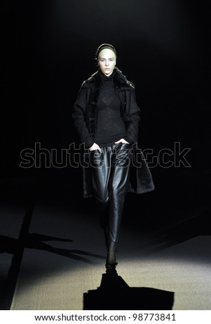 MOSCOW - MARCH 25: A Model walks runway at the Tegin for Fall Winter 2012 presentation during MBFW on March 25, 2012 in Moscow, Russia - stock photo