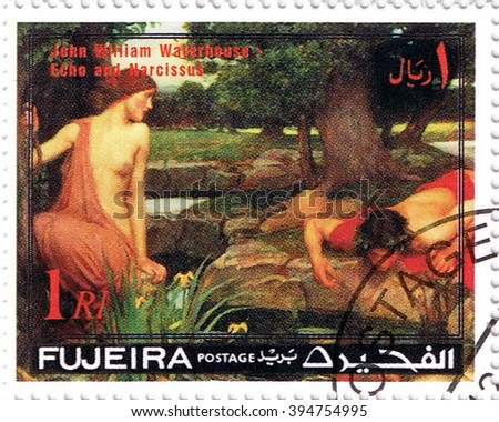 "MOSCOW MARCH 22, 2016: A stamp printed in Fujeira shows ""Echo and Narcissus"" by Waterhouse, series, circa 1971 - stock photo"