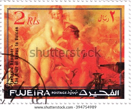 "MOSCOW   MARCH 22, 2016: A stamp printed in Fujeira shows ""The vish of venus to vulcan"" by Francois Boucher, series, circa 1971 - stock photo"