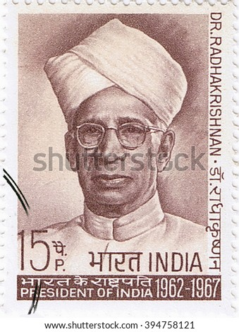 MOSCOW   MARCH 22, 2016: A stamp printed in India shows a portrait of the second President of India Sarvepalli Radhakrishnan, circa 1967 - stock photo
