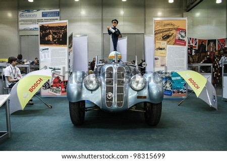 MOSCOW-MARCH 9: BMW 328 1936 at the international exhibition of the technical antiques on March 9, 2012 in Moscow