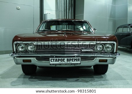 MOSCOW-MARCH 9: Chevrolet Impala 1966 at the international exhibition of the technical antiques on March 9, 2012 in Moscow