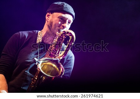 MOSCOW - 1 MARCH, 2015 : De Phazz band performing live at Yotaspace nightclub  - stock photo